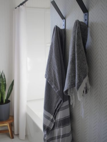 Boys' Bathroom Upgrade: shiplap, wallpaper, and a bit of a coastal feel